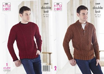 King Cole Mens Sweaters Knitting Pattern , 5469